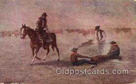 wes000260 - Artist John Innes, Western Cowboy Cowgirl Postcard Postcards