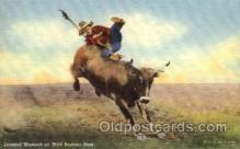 wes000289 - Leonard Womach on Wild Brahma Steer, Western Cowboy Cowgirl Postcard Postcards