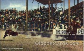 wes000316 - Chester Byers Roping Steer, Cowboy Western Postcard Postcards