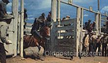 wes000337 - Rodeo Scene Western Cowboy, Cowgirl Postcard Postcards