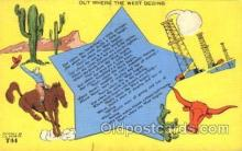 wes000420 - Out Where the West Begins Western Cowboy, Cowgirl Postcard Postcards