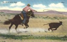 wes000423 - Roping Cattle Western Cowboy, Cowgirl Postcard Postcards
