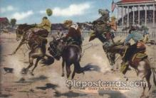 wes000432 - Cowboy Race with Wild Broncos Western Cowboy, Cowgirl Postcard Postcards