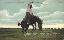wes000437 - Cowboy on Bucking Bronco Western Cowboy, Cowgirl Postcard Postcards