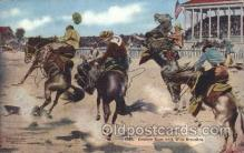 wes000440 - Cowboy Race with Wild Broncos Western Cowboy, Cowgirl Postcard Postcards