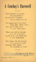 wes000456 - A Cowboy's Farewell Western Cowboy, Cowgirl Postcard Postcards
