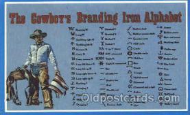 wes002212 - Cowboy's Branding Alphabet Western Cowboy, Cowgirl Postcard Postcards