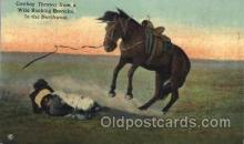 wes002237 - Cowboy Thrown from Bucking Bronco Western Cowboy, Cowgirl Postcard Postcards