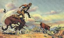 wes002248 - Roping Cattle Western Cowboy, Cowgirl Postcard Postcards