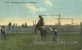 wes002300 - Saddling an Outlaw Western Cowboy, Cowgirl Postcard Postcards