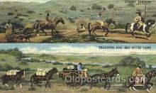 wes002320 - Indian Travois & Trappers with Red River Cart Western Cowboy, Cowgirl Postcard Postcards