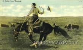wes002346 - Cowboy Riding Bronco Western Cowboy, Cowgirl Postcard Postcards