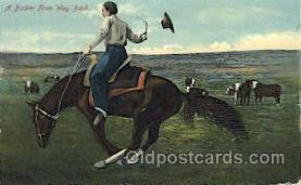 wes002357 - Cowboy Riding Bronco Western Cowboy, Cowgirl Postcard Postcards