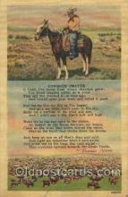 wes002384 - Cowboy's Prayer Western Cowboy, Cowgirl Postcard Postcards