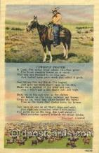 wes002393 - Cowboy's Prayer Western Cowboy, Cowgirl Postcard Postcards