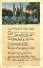 wes002396 - Out Where the West Begins Western Cowboy, Cowgirl Postcard Postcards