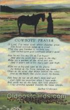 wes002405 - Cowboy's Prayer Western Cowboy, Cowgirl Postcard Postcards