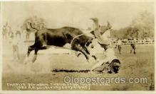 wes100034 - Charlie Johnson on Wild Steer, Real Photo Western Postcard Postcards