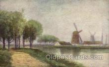 win001028 - Scene in Holland Windmills Postcard Post Cards, Old Vintage Antique