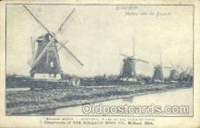 win001037 - Holland Scenes - Rotterdam, Mills at the Drainage Canal Windmills Postcard Post Cards, Old Vintage Antique