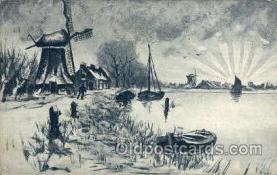 win001044 - Windmills Postcard Post Cards, Old Vintage Antique