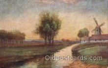 win001049 - Sunset in Holland Windmills Postcard Post Cards, Old Vintage Antique