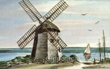 win001054 - Old bass river windmill, South Yarmouth, Cape Cos, Massachusetts, USA Windmills Postcard Post Cards, Old Vintage Antique