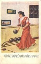 wis001022 - Artist Earl Christy Bowling Woman in Sports Postcard Postcards