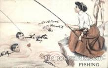 wis001039 - Fishing Woman in Sports Postcard Postcards