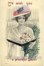 wom001001 - Easter,  Woman Postcard Postcards