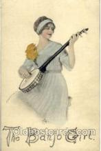 wom001046 - The Banjo Girl Woman Postcard Postcards