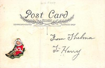 xms001589 - Christmas Post Card Old Vintage Antique Xmas Postcard  back
