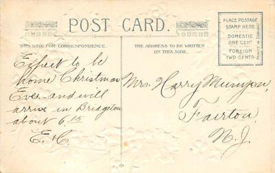 xms001777 - Christmas Post Card Old Vintage Antique Xmas Postcard  back