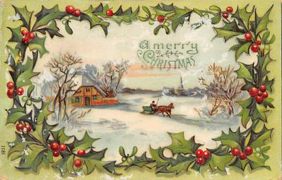 xms001867 - Christmas Post Card Old Vintage Antique Xmas Postcard