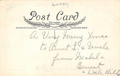 xms002189 - Christmas Postcard Antique Xmas Post Card  back