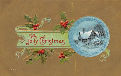 xms002685 - Christmas Post Card Antique Xmas Postcard