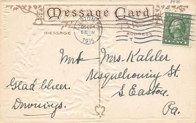 xms004101 - Christmas Holiday Postcard Vintage Xmas Post Card  back