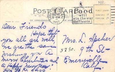 xms004109 - Christmas Holiday Postcard Vintage Xmas Post Card  back
