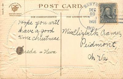xms006093 - Christmas Post Card Old Vintage Antique Xmas Postcard  back