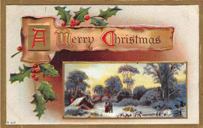 xms006133 - Christmas Post Card Old Vintage Antique Xmas Postcard