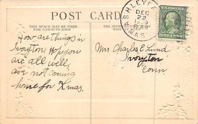 xms006161 - Christmas Post Card Old Vintage Antique Xmas Postcard  back