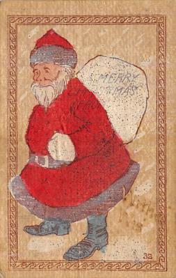 xms100001 - Santa Claus Post Card Old Vintage Antique Christmas Postcard