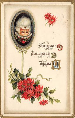 xms100033 - Santa Claus Post Card Old Vintage Antique Christmas Postcard
