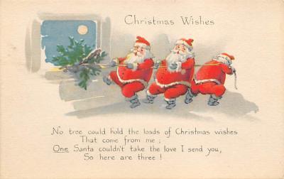 xms100037 - Santa Claus Post Card Old Vintage Antique Christmas Postcard