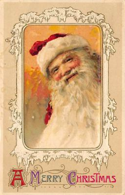 xms100041 - Santa Claus Post Card Old Vintage Antique Christmas Postcard