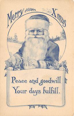 xms100089 - Santa Claus Post Card Old Vintage Antique Christmas Postcard