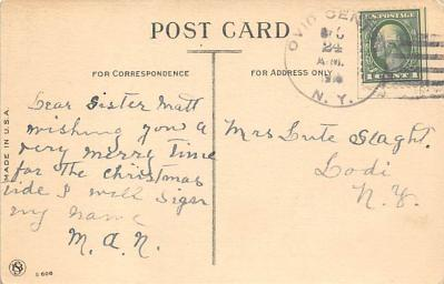 xms100089 - Santa Claus Post Card Old Vintage Antique Christmas Postcard  back