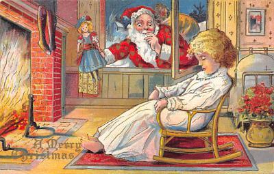 xms100141 - Santa Claus Post Card Old Vintage Antique Christmas Postcard