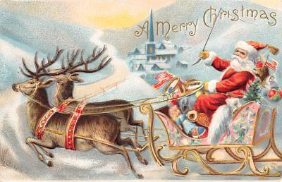 xms100157 - Santa Claus Post Card Old Vintage Antique Christmas Postcard
