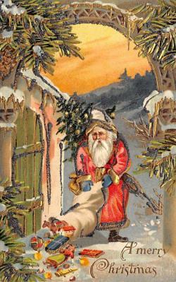 xms100185 - Santa Claus Post Card Old Vintage Antique Christmas Postcard